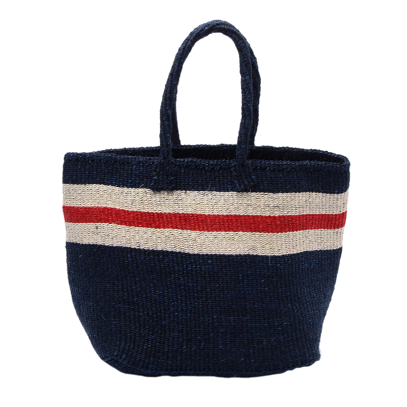 MACHACOS TOTEBAG NAVY WITH NATURAXRED LIN
